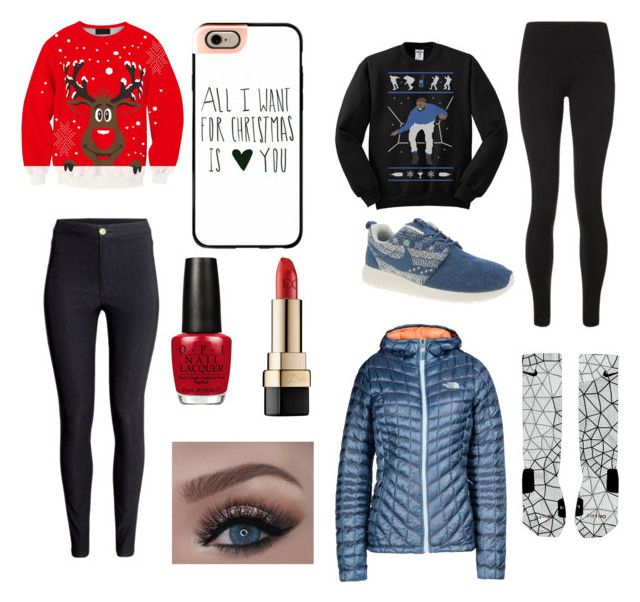 """""""Bestie Christmas"""" by mollyrox-1 ❤ liked on Polyvore featuring Sweaty Betty, NIKE, The North Face, Casetify, OPI, Dolce&Gabbana and H&M"""