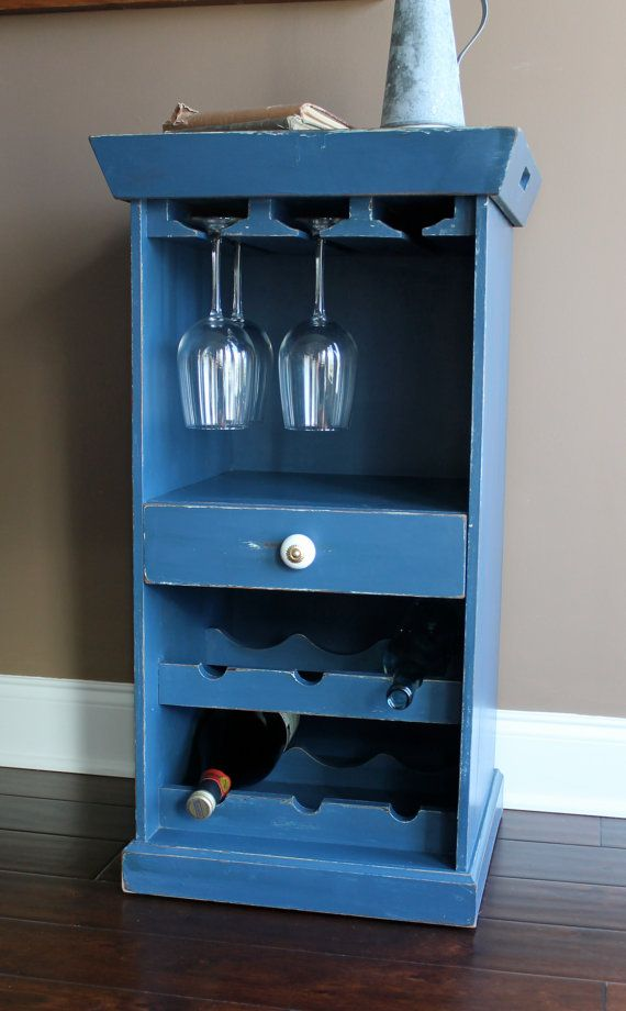 Navy Bar Stand with wine rack by PaintedOlives on Etsy, $225.00