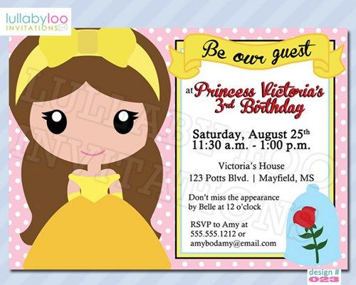 Beauty and the Beast Birthday Invitations (023) | lullabyloo - Cards on ArtFire #beauty and the beast #princess #birthday #party invitations #girl