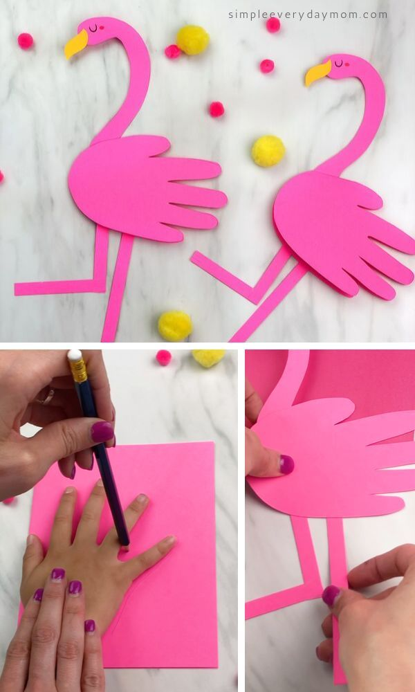 Handprint Flamingo Card Craft For Kids - Flamingo craft, Toddler crafts, Pink crafts, Preschool crafts, Crafts for kids, Learn crafts - Learn how to make this flamingo card craft for kids  It's a fun & easy summer craft that's great to do at home, in the classroom or for a flamingo birthday!