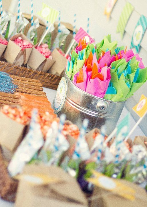 Awesome party ideas for summer birthday's! Lots of color used. From the gummy skewers to the bright napkins wrapped around plasticware, I'm inspired!
