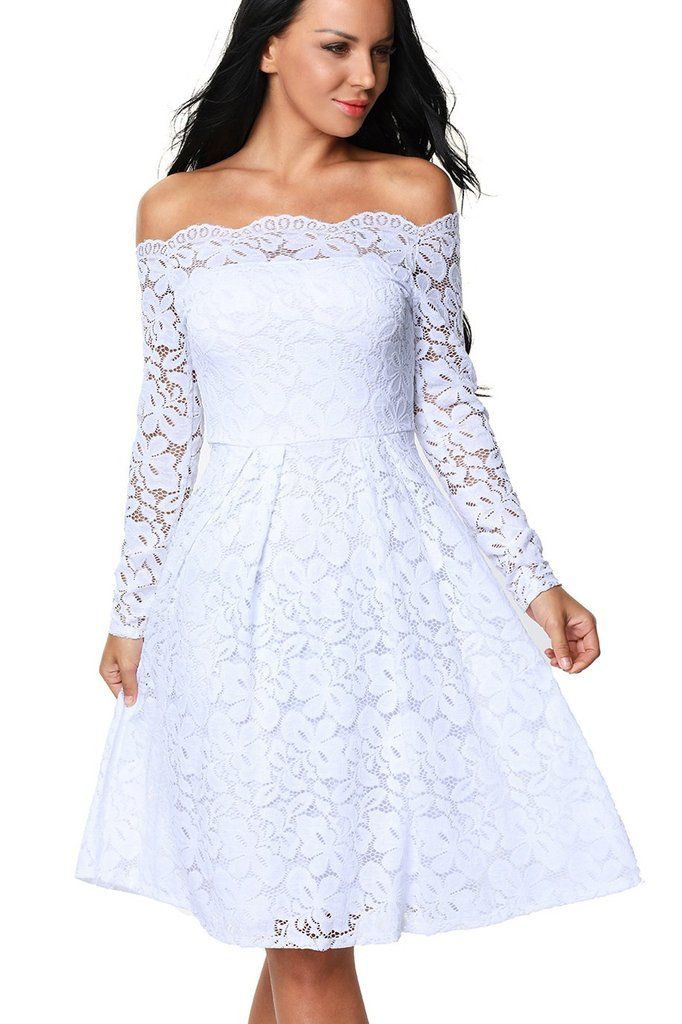9dc83ab8dadd White Long Sleeve Floral Lace Off Shoulder Cocktail Skater Dress MB61427-1  – ModeShe.com