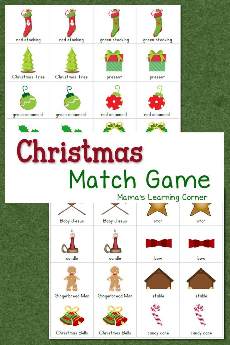 Christmas Match Game Christmas worksheets, Preschool