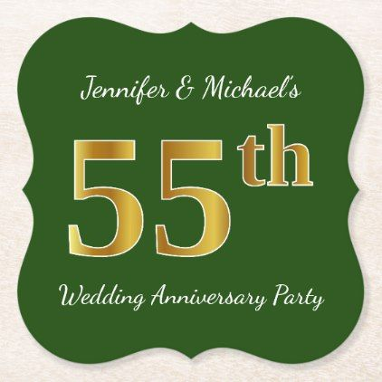 Faux Gold 55th Wedding Anniversary Party Paper Coaster