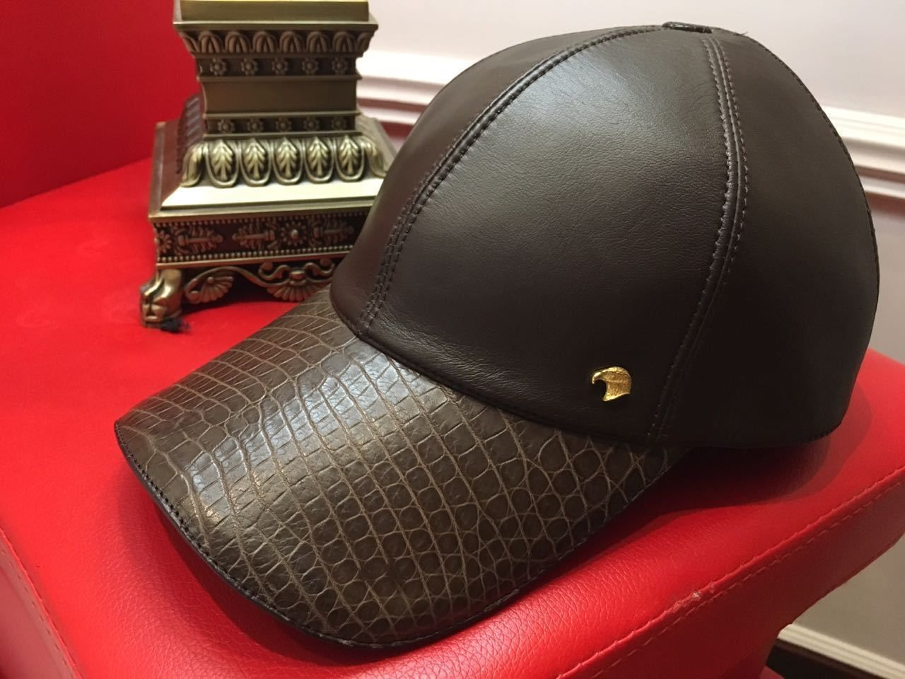 0f18ad6105c48 cap brown stefano ricci with a real crocodile skin and leather (eBay Link)