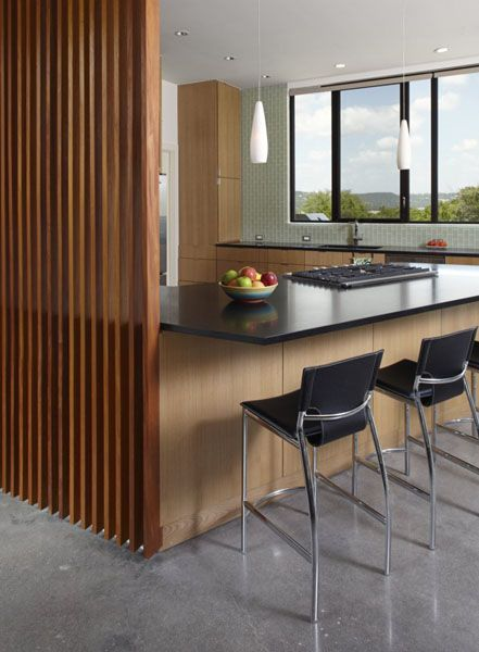 wooden walls and kitchen island