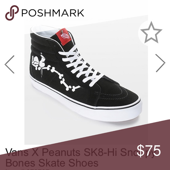f261ae1d013875 vans sk8 hi reissue peanuts snoopy bones black 3 17 Vans Shoes Sneakers
