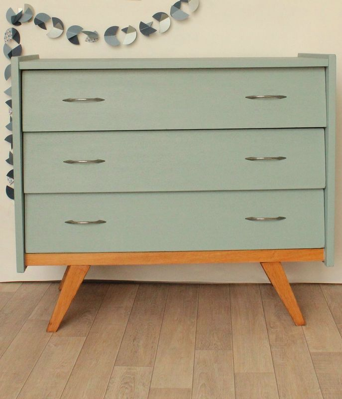 commode ann es 50 bleue pieds compas little ones 60s furniture commode vintage et kids room. Black Bedroom Furniture Sets. Home Design Ideas