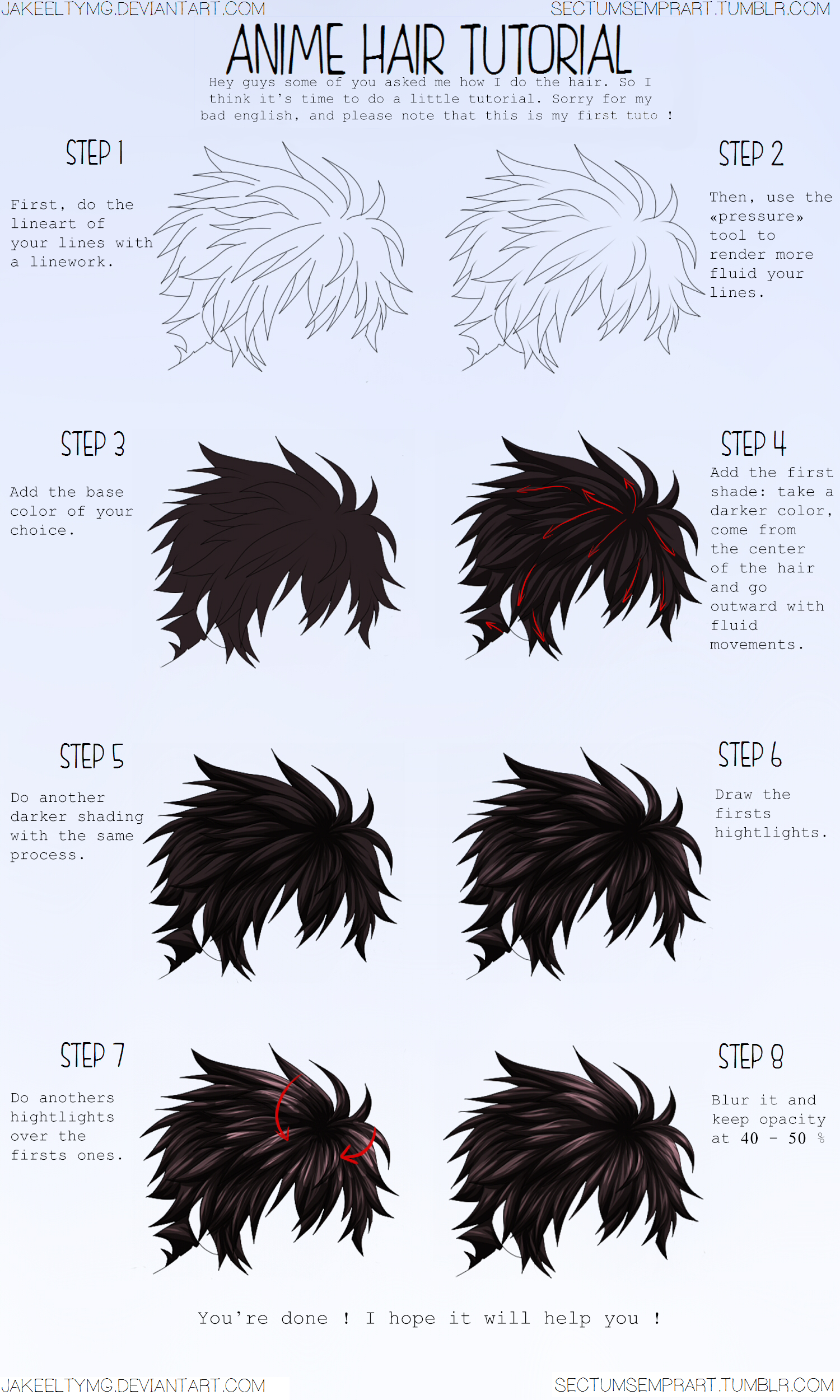 Hair Colouring Tutorial By Blurrymls On Deviantart Coloring Tutorial Digital Art Tutorial Digital Painting Tutorials