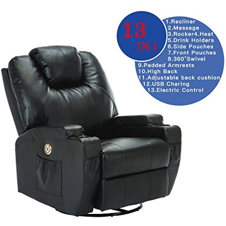 Uenjoy Electric Massage Chair Recliner Sofa Body Ergonomic Swivel
