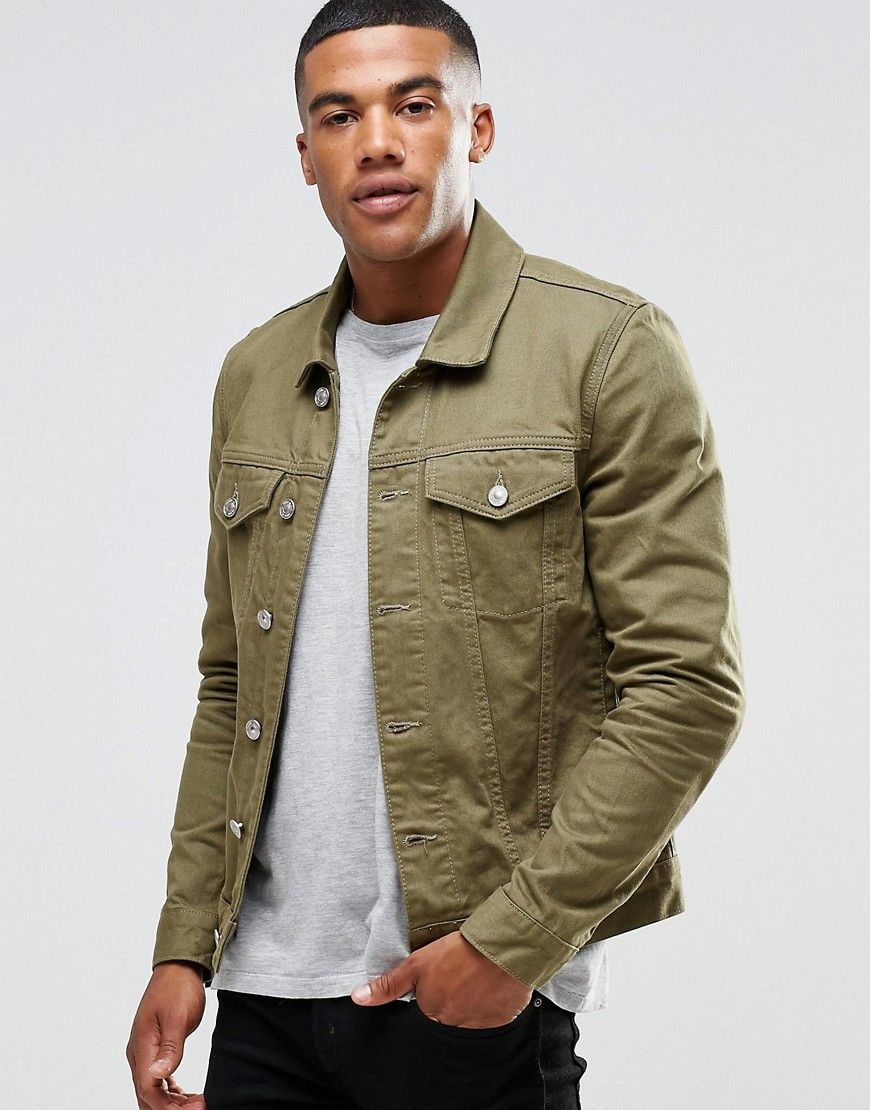 River Island Denim Jacket In Khaki | Things to Wear | Pinterest ...