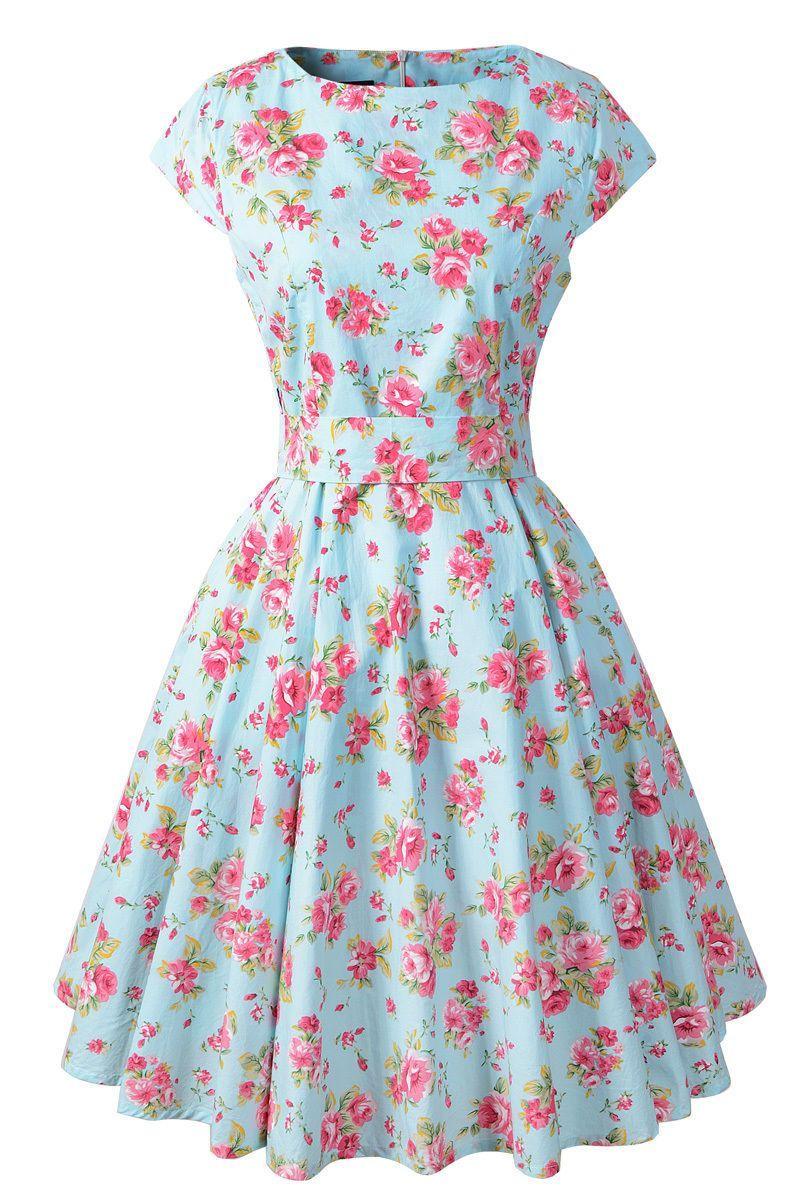 Cap sleeve cotton vintage prom dresses floral print rockabilly s