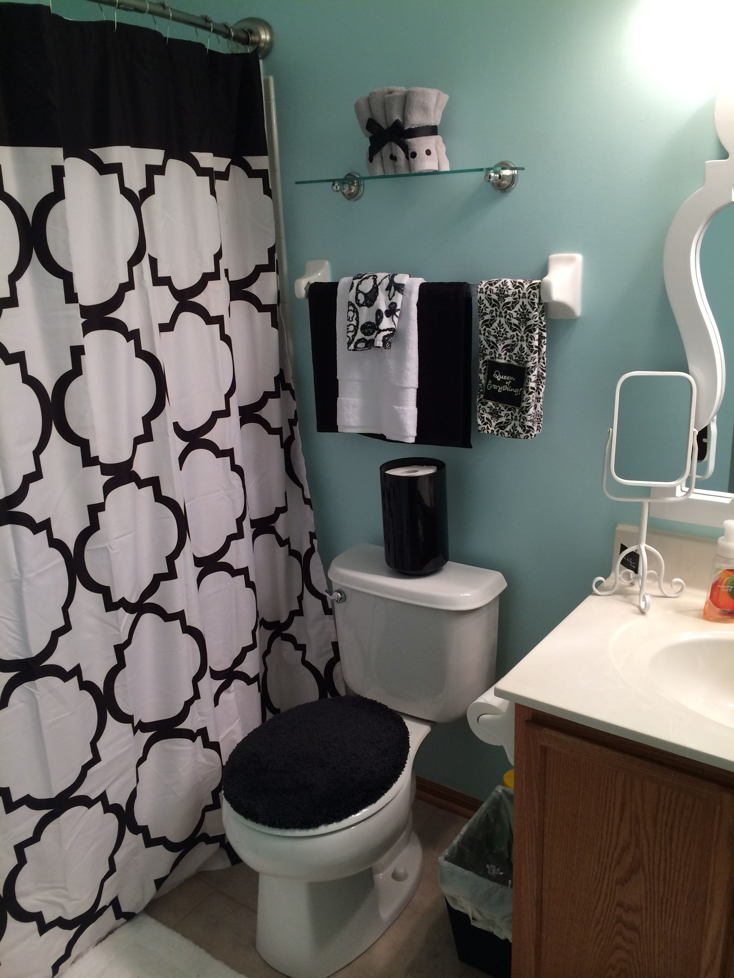 Black White And Blue Bathroom Restroom Decor Small Apartment Bathroom Black Bathroom Decor