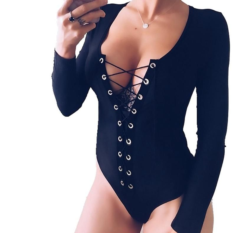New Women Ladies Lace Up V-neck Clubwear Bodysuits Slim Bandage V Neck  Bodycon Party f2180bdc01b