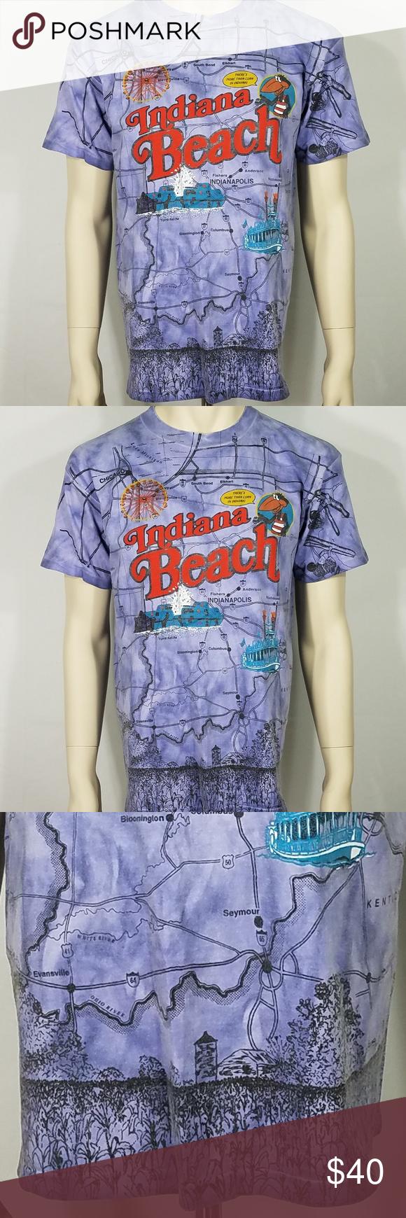 Indiana Beach road map graphic t-shirt Adult Large | My Posh Picks ...