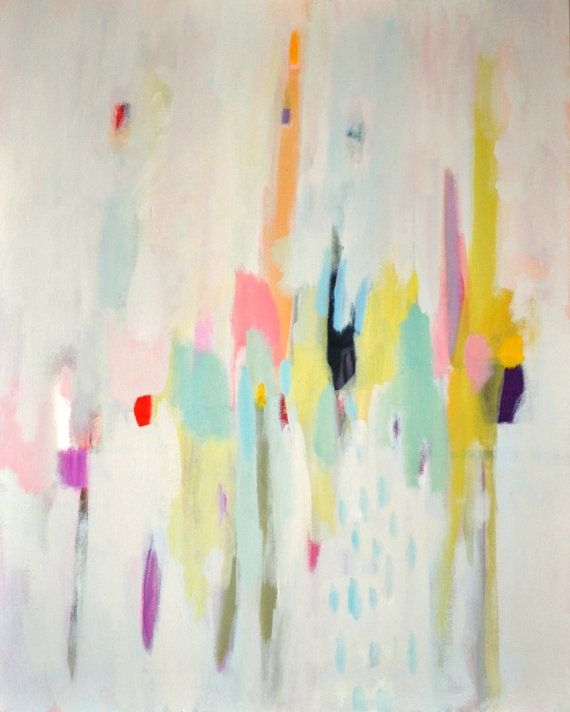 Abstract canvas original painting blues, yellows, whites, pinks