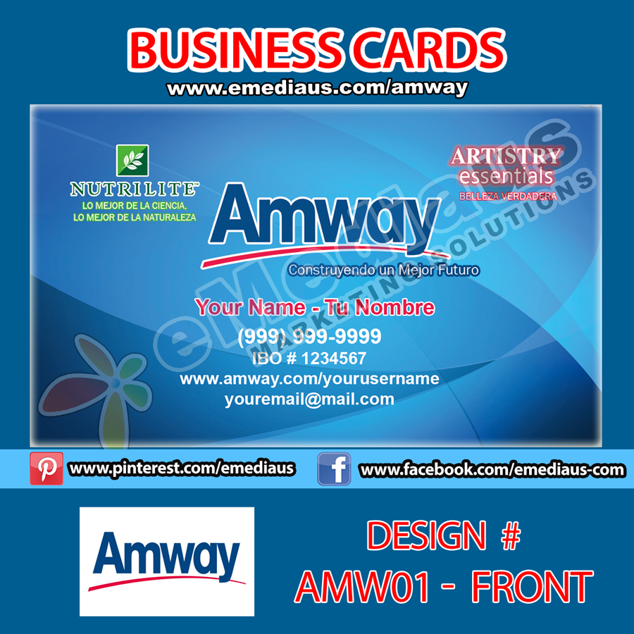 amw01 front design business card  35'' x 2  amway portfolio
