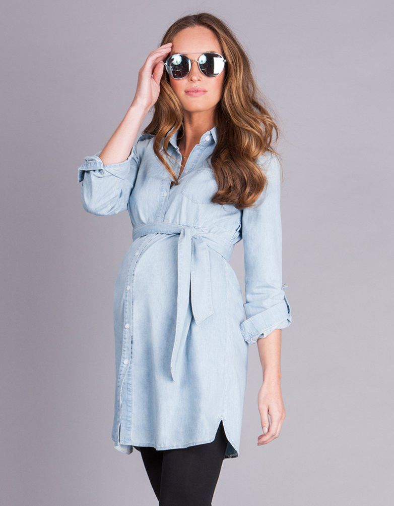 2c108230b2 Soft chambray denim Turn up sleeves Self-tie empire belt Snap down front  Above the knee The ultimate spring summer essential