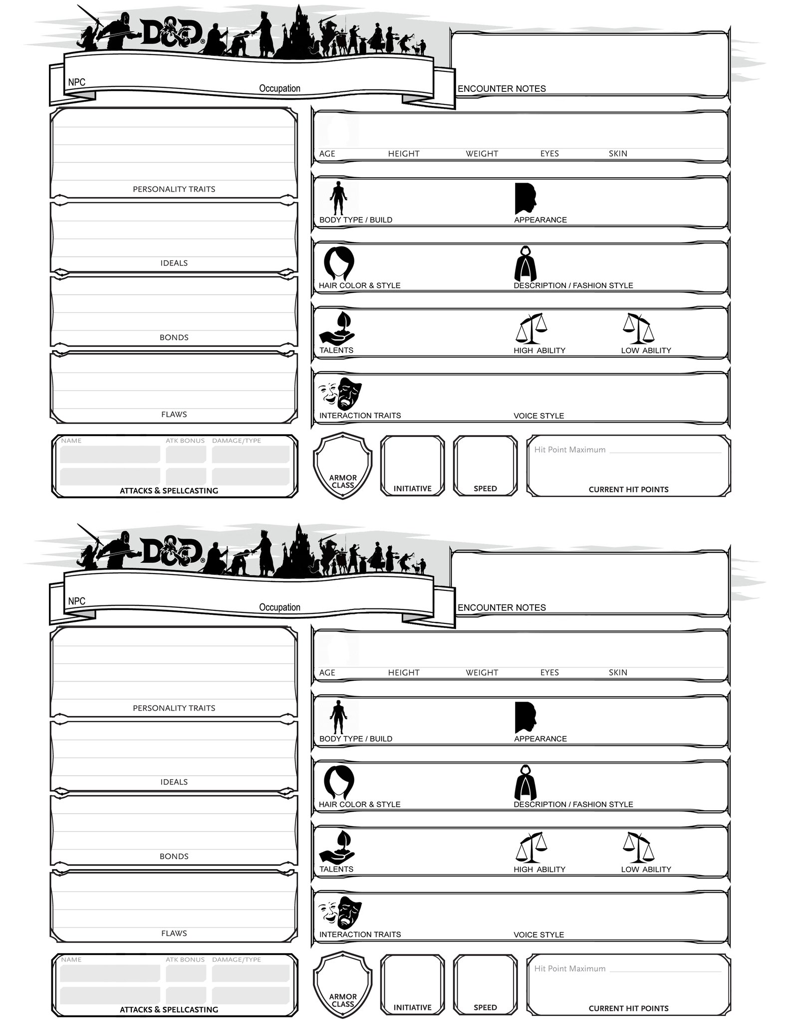 NPC sheets | DnD in 2019 | Dungeons, dragons homebrew, Rpg