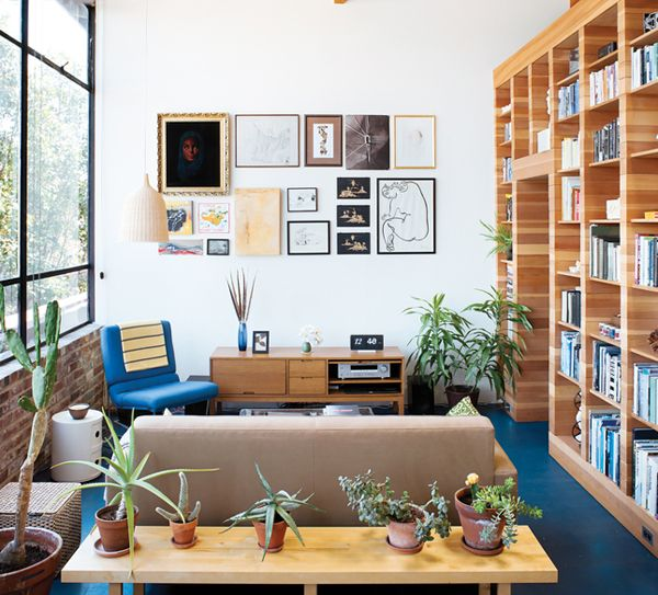 clean lines, natural wood, potted plants, lots of light, great
