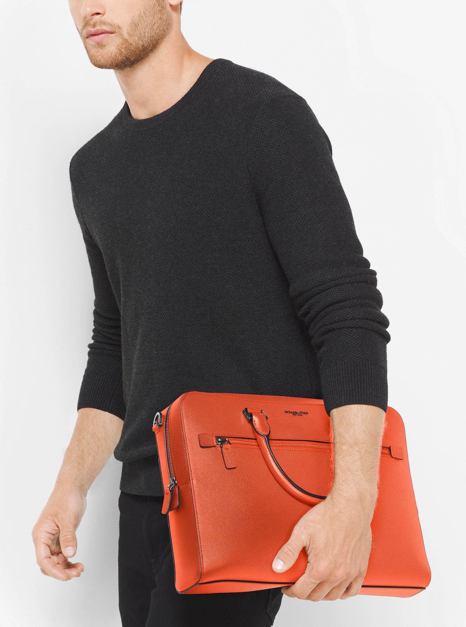 844b3f070b830 Michael Kors Harrison Medium Leather Briefcase - Brightorange