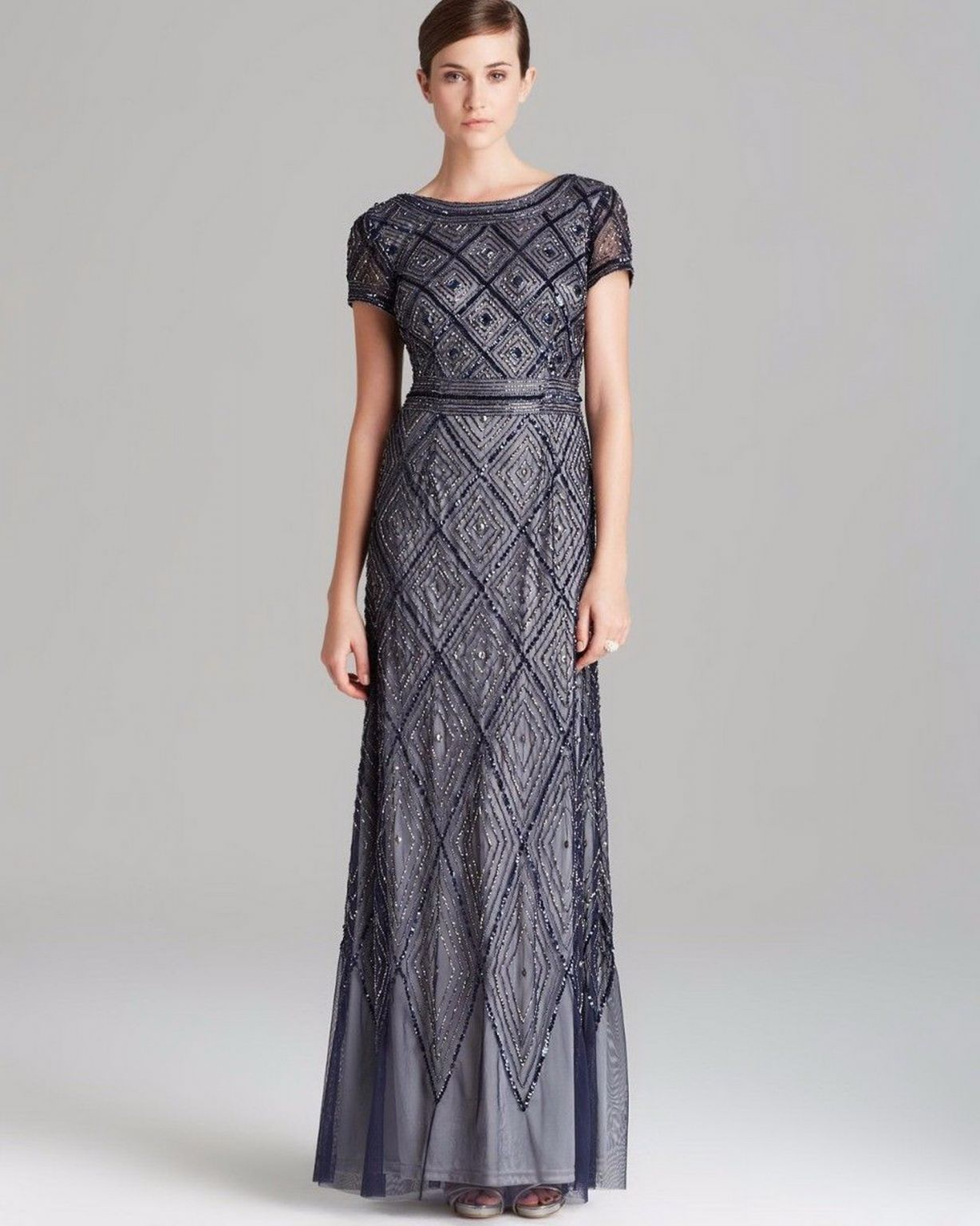 bed434fe80 Adrianna Papell Diamond Pattern Beaded Gown (Navy Silver) 6