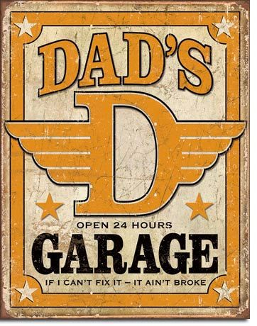 Garage Decor Signs Vintage Style Tin Sign Dad's Garage Open 24 Hours Man Cave Usa