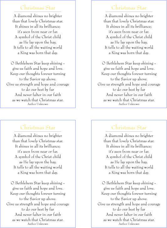 Mormon Share Christmas Star Poem Christmas Pinterest Jenny