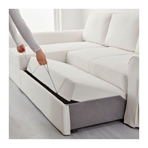 BACKABRO Sofa Bed With Chaise Longue   Hylte White,     IKEA