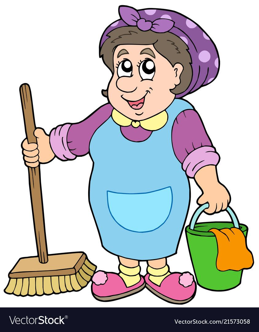 Cartoon Cleaning Lady Vector Image On Cleaning Lady Clean House