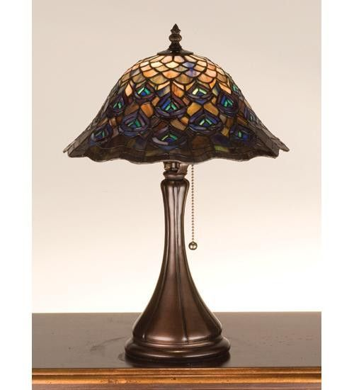 18 inch h tiffany peacock feather accent lamp table lamps