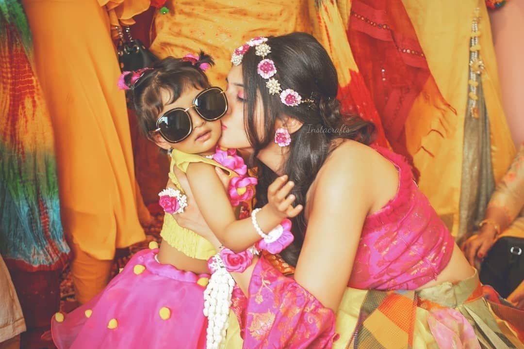 Cute Little Bridesmaid Photo by SL Art Production  cute bridetobe posing with her cute littel bridesmaid  mehendi ceremony of an indian bride  bride to be wearing lovely...