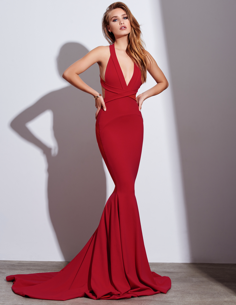 sexy mermaid red prom dresses halter long backless prom dress