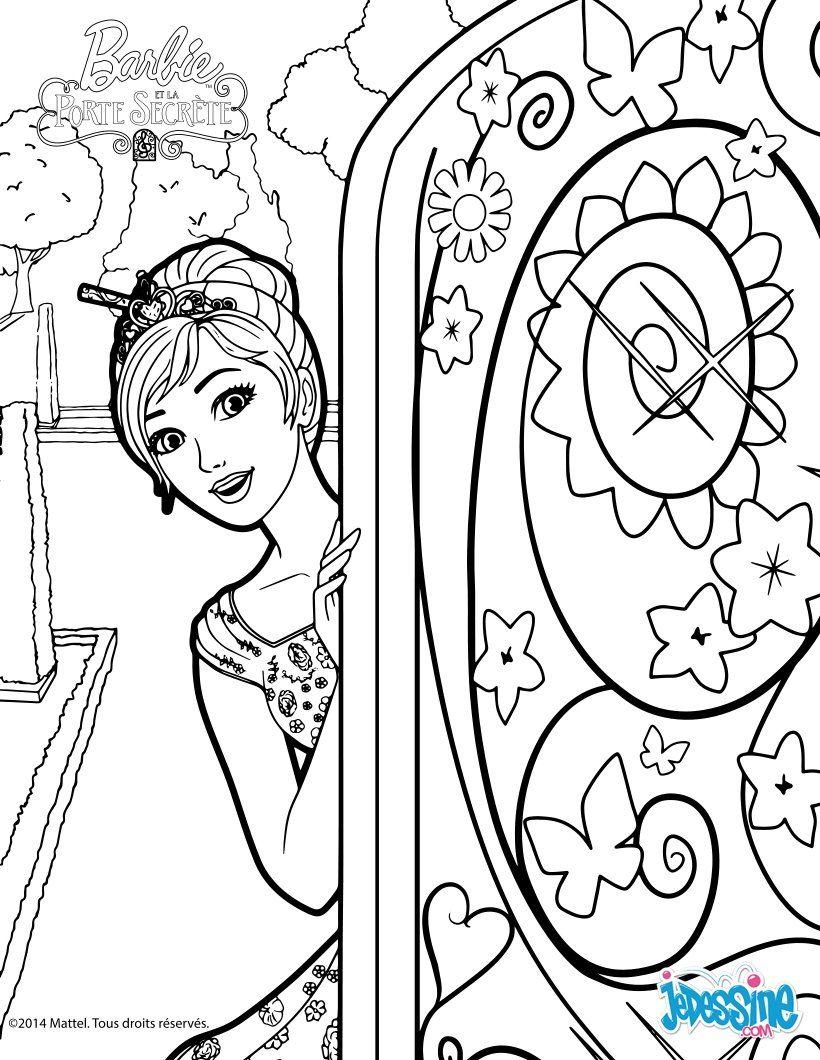 coloriage de barbie qui dcouvre la mystrieuse porte un joli coloriage barbie qui plaira - Coloriages Barbie