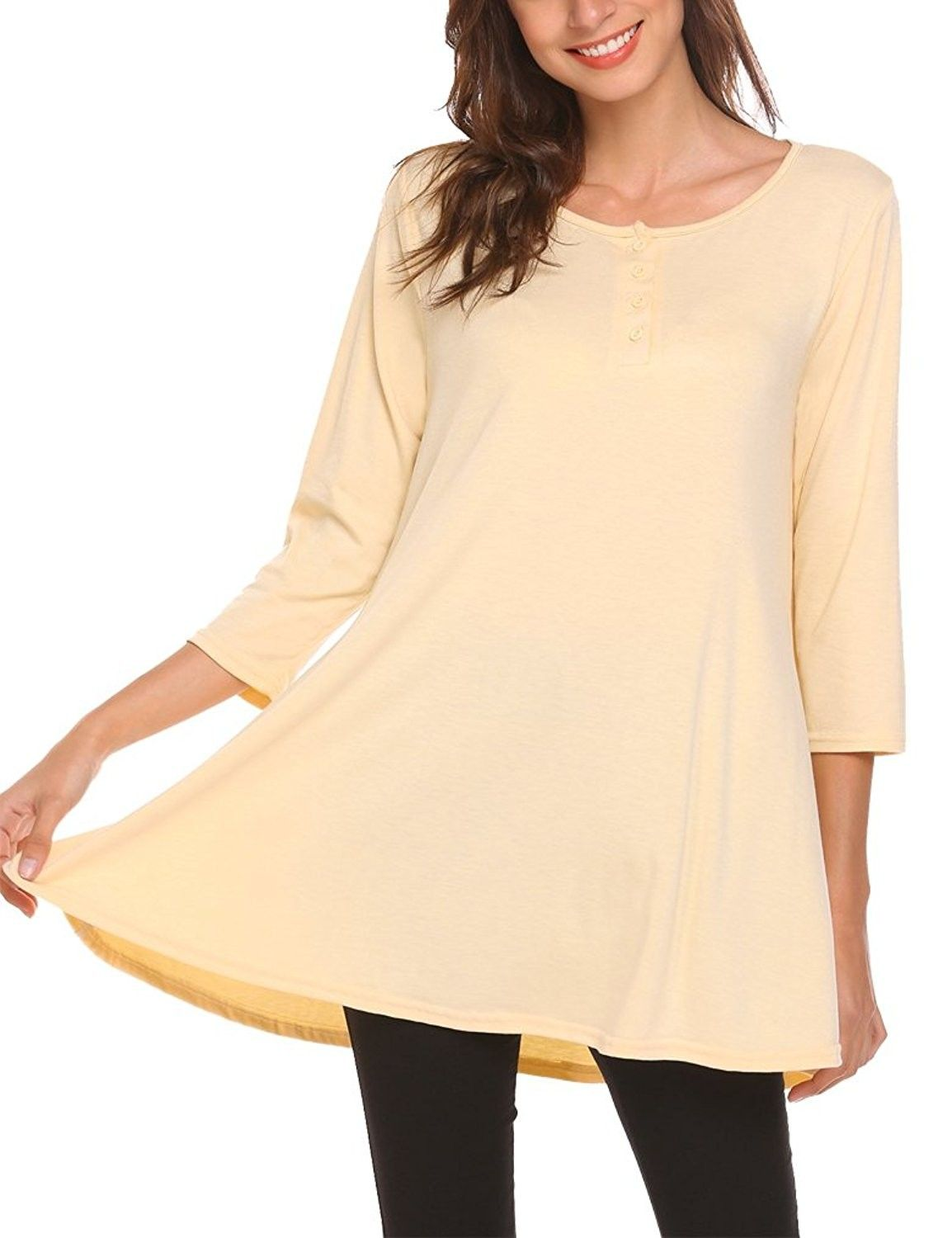 6303424842e Women's Clothing, Tops & Tees, Henleys, Womens Loose 3/4 Sleeve Swing  Buttons Tunic Tops Henley T Shirts With Pockets - Beige - C3189R36DD3 #women  #fashion ...