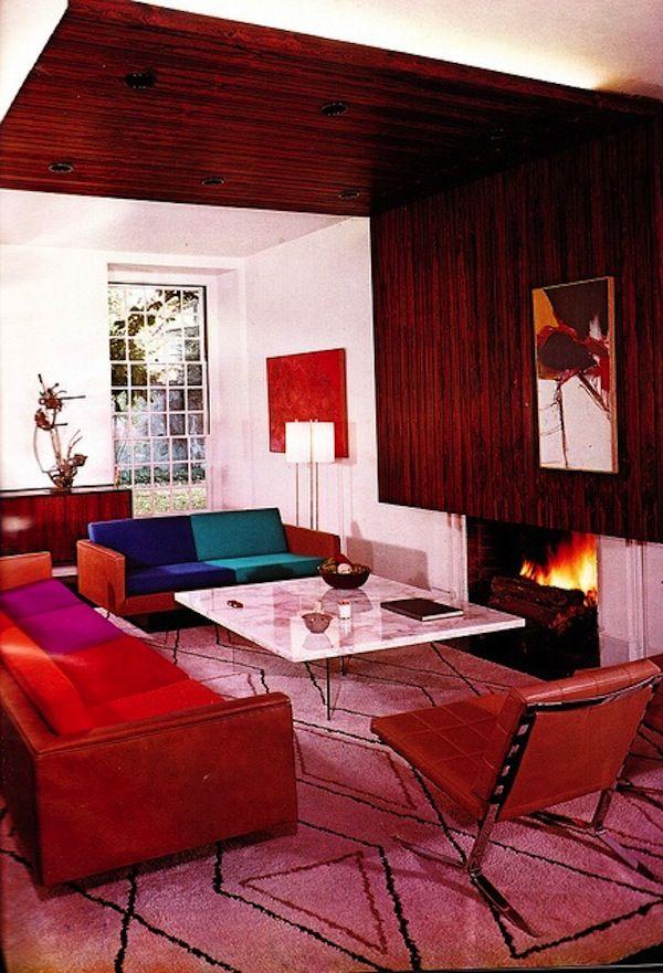 midcentury modern retro interior design decor decoration 50s 60s color block sofa - Retro 50s Home Design
