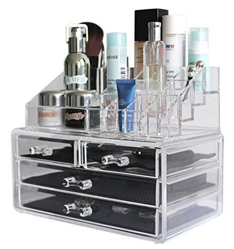 Clear Acrylic Makeup Organizers Vanity Trays Jewelry Cosmetic