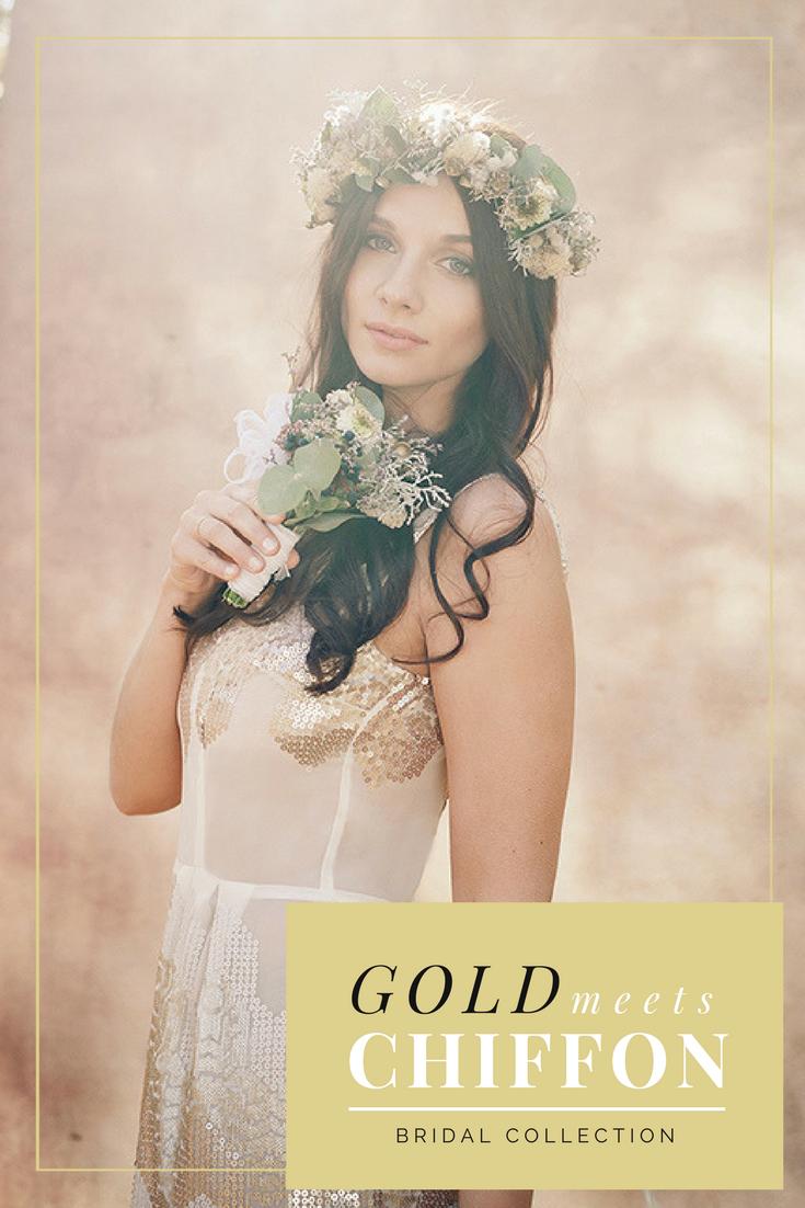 Gold meets Chiffon Bridal Collection Golden Wedding: Schimmerndes ...