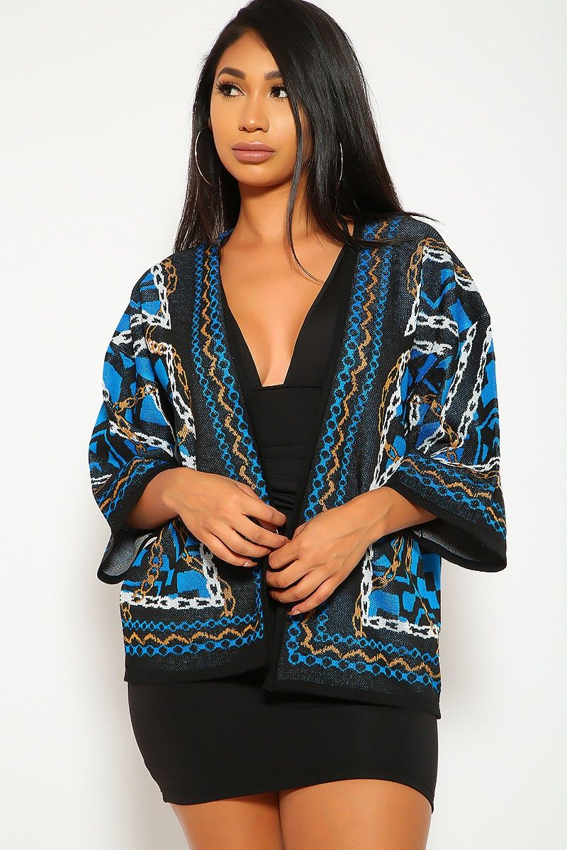 a260f60459 Cute Black Blue Cover Up Sweater Open Front Chain Print Detail Semi Fitted