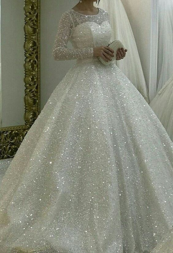 Sparkly White Wedding Dresses Bridal Gown Prom Dresses Sparkle Wedding Dress Ball Gowns Wedding Wedding Dress Sequin