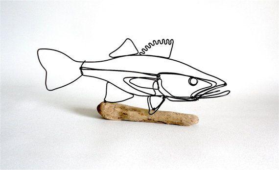 Walleye Fish Wire Sculpture. Fish Wire Art, Minimal Sculpture, 480238927
