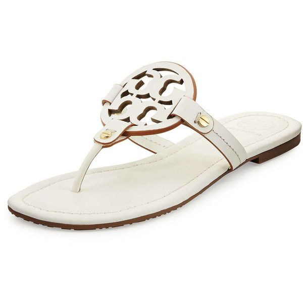 75776fd30383e Tory Burch Miller Leather Logo Thong Sandal ( 136) ❤ liked on Polyvore  featuring shoes