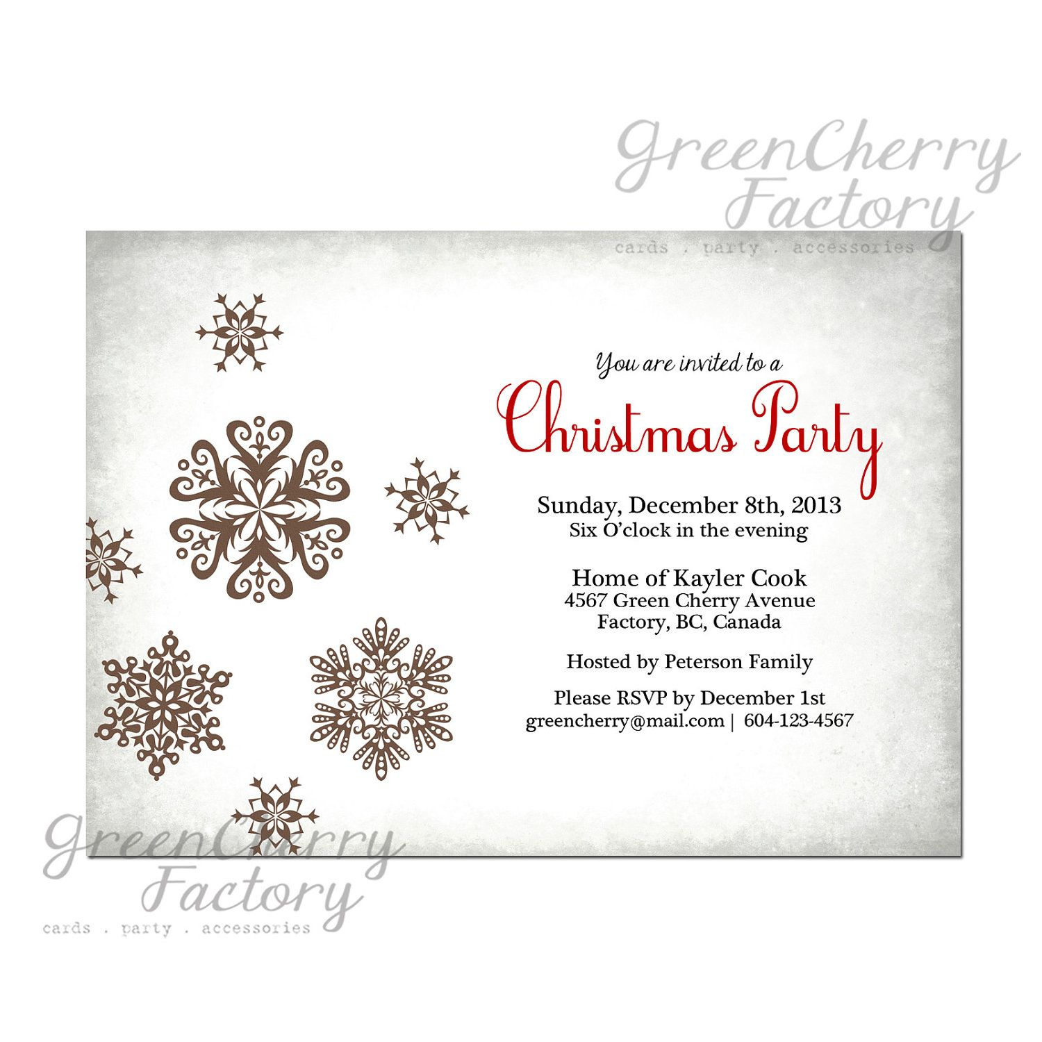 White Christmas Party Invitation - Vintage Silver Light Gray Snow ...