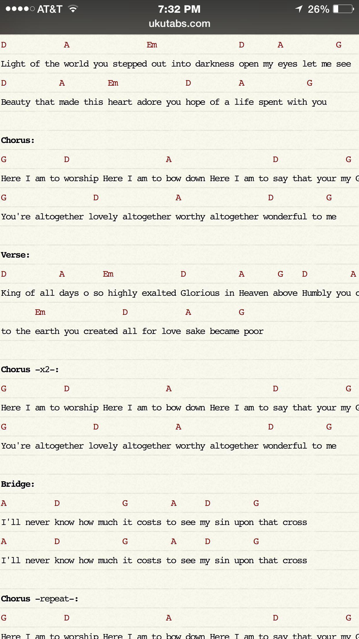 Ukulele chords Here I am to Worship-Chris Tomlin | Tips For Ukulele ...