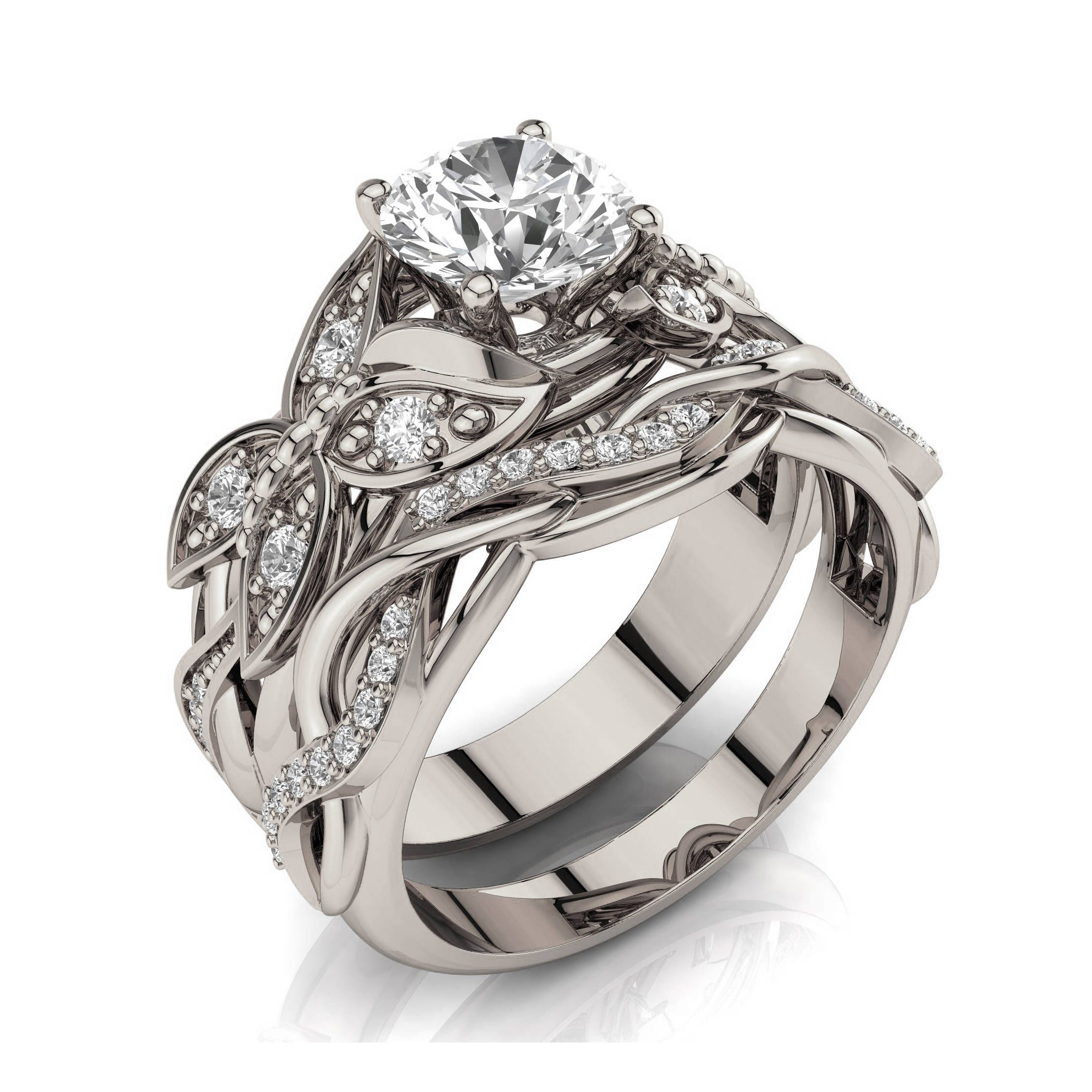 Butterfly Bridal Set, 1ct Moissanite engagement ring