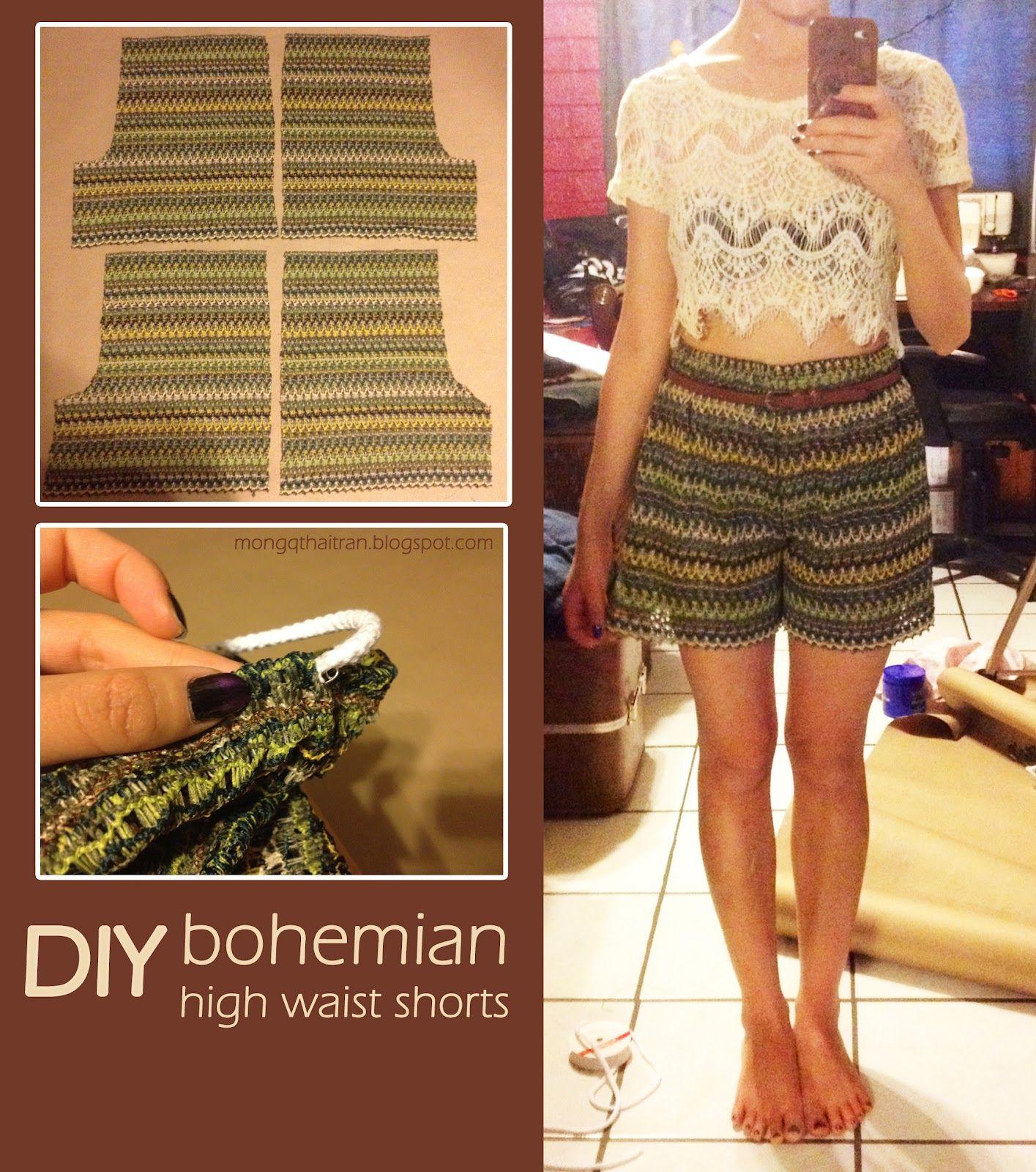 diy bohemian high waist shorts fashion pinterest