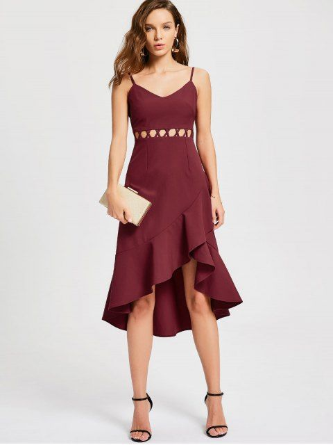 Ruffle Cutout Slip Semi Formal Dress Wine Red S Prom Dresses