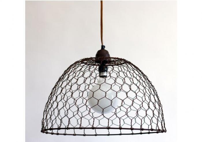 Chicken Wire Basket Pendant Lamp | Pendant lighting, Chicken wire ...