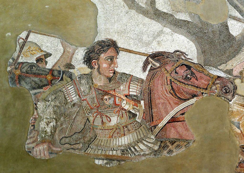 Alejandro combate contra el rey persa Darío III en la batalla de Issos. Detalle del mosaico de la Casa del Fauno de Pompeya (Museo Arqueológico Nacional de Nápoles).