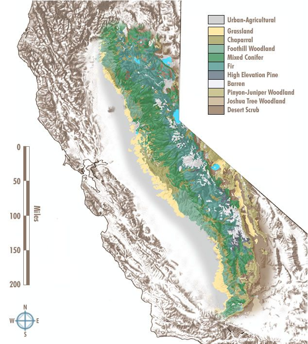 Sierra Mountains California Map.Map Of The Sierra Nevada Mountains In California Usa Many Photos